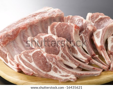 The rib meat of sheep
