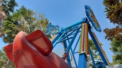 The rides in the amusement park