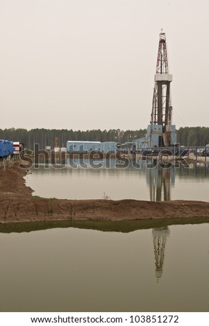 The rig drills well for oil and gas in Western Siberia