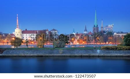 The Riga Castle on coast of river Daugava in Riga, Latvia.