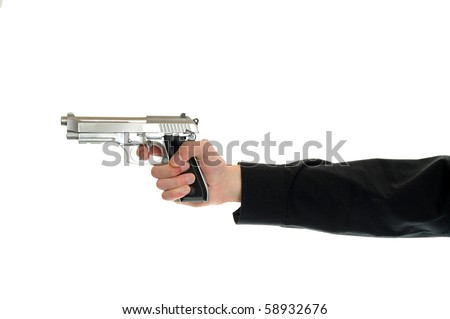 The right to bare arms. White hand holds firearm isolated on white background.