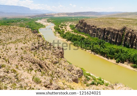 The Rio Grande River flowing through Hot Springs Canyon along the Mexican border in Big Bend National Park