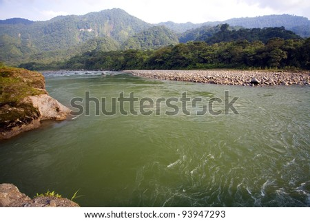 The Rio Quijos flowing through the Amazonian foothills of the Andes in Ecuador