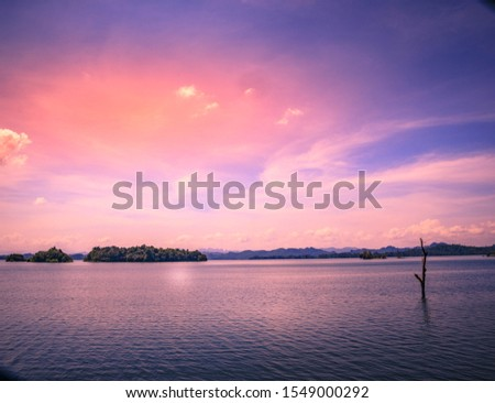 The river and  twilight sky