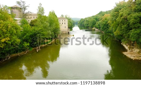 The River Aveyron and the surrounding gorges at St Antonin Noble Val in France