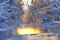 The river in the winter at sunset