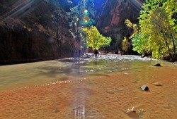 The river in zion, deathvalley,usa,The most popular and scenery trail in Zion. amazing place national park in USA.