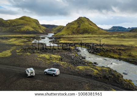 The river is flowing in canyon, Iceland