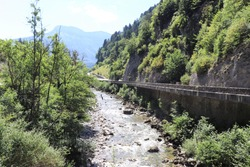 The river Le Fier in Dingy, town of Dingy Saint Clair, Department Haute Savoie, France