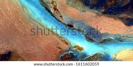 The river of life, abstract photography of the deserts of Africa from the air. aerial view of desert landscapes, Genre: Abstract Naturalism, from the abstract to the figurative, contemporary  Photo stock ©