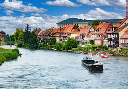 The river Regnitz as it flows through Bamberg, Germany. It is a UNESCO World Heritage Site