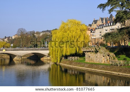 The river Sarthe and weeping willow at Le Mans of the Pays de la Loire region in north-western France
