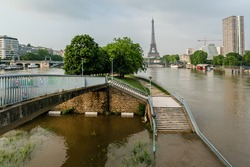 The River Seine in Paris is at its highest level for more than 30 years. Ile aux Cygnes (Swans Island) flooded water is a man-made embankment built in 1827. France.