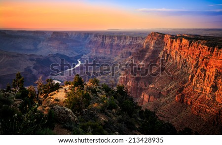 The River Through the Grand Canyon at Sunset, Grand Canyon National Park, Arizona #213428935