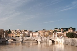 The river Tiber in Rome after a heavy rain with high tide