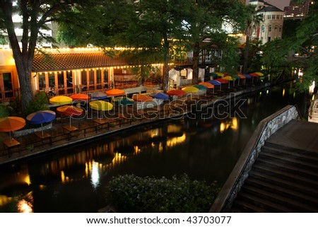 The riverwalk at night in San Antonio Texas. - stock photo