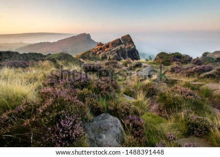 The Roaches during August sunrise in the Peak District National Park England UK