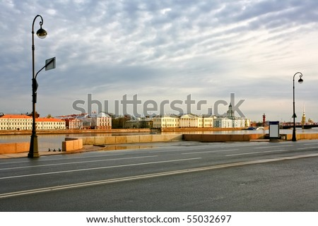 The road along the Neva River. St. Petersburg, Russia