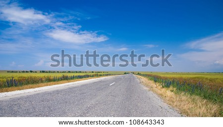 the road and the blue sky landscape