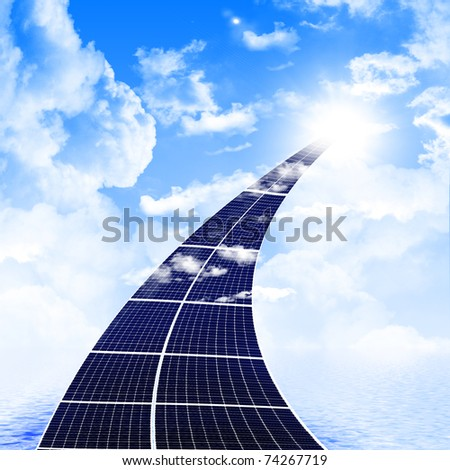 The road from the solar panels disappearing in the sky