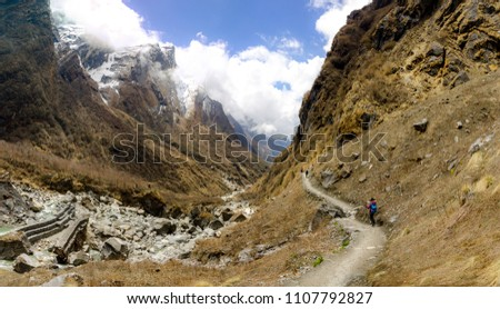 The road in the mountains of Annapurna range, Nepal Himalayas. #1107792827
