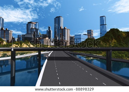 The road into the city over the water.