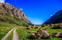 The road through the mountain valley. Mountain valley landscape. Mountain valley rocks