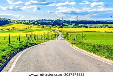 The road through the rural plain. Rural road landscape. Countryside field road. Country road landscape