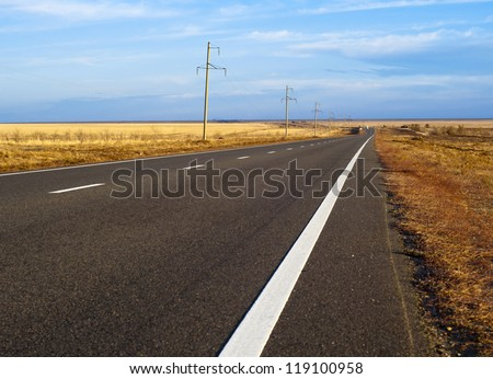 the road through the steppe. Way in asia.
