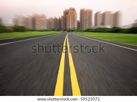the road to city in motion blur