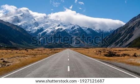 The road to Mount Cook Aoraki high peak mountain New Zealand