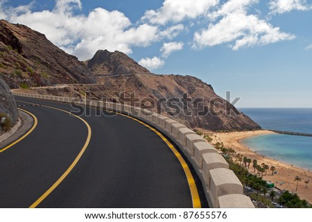 The road to mountains, Tenerife - stock photo