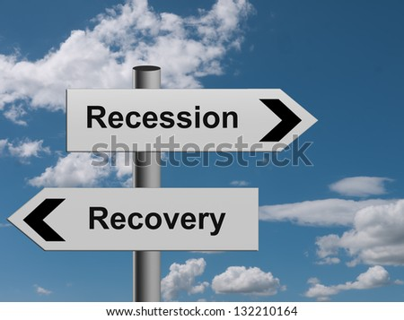 The road to recovery - or recession, concept