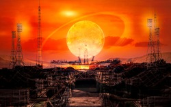 The road to space exploration. Alien techno planet and launch pad at the sunset sky with extraterrestrial sun. Elements of this image furnished by NASA.