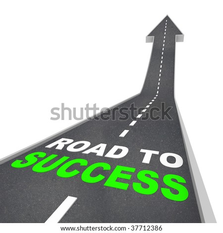 The Road to Success - Words on Arrow Going Up - stock photo