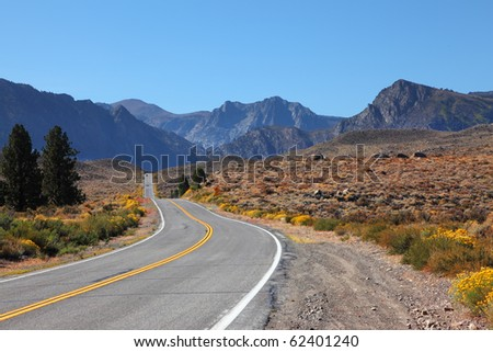 The road went off. Great American road goes through the beautiful desert