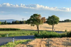 The road winding through the fields near the village Oberrohrbach on a sunny summer day. Lower Austria, Europe.