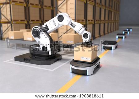 The Robot arm picks up the box to Autonomous Robot transportation in warehouses, Warehouse automation concept. 3D illustration