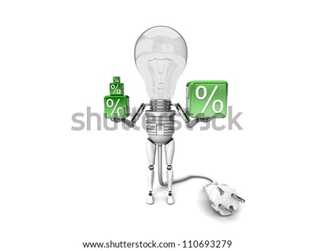 """The robot """"bulb"""" Holds in a hands percent signs isolated on a white background"""