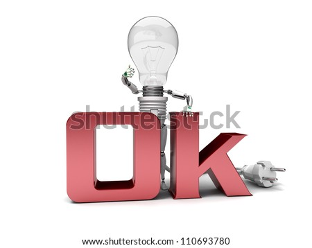 "The robot ""bulb""  isolated on a white background"