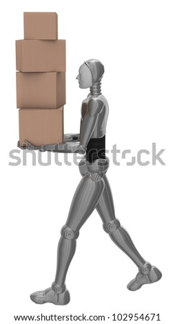 The robot moves cardboard boxes.