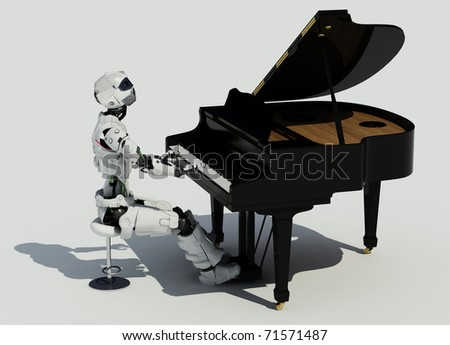 The robot plays the piano on a white background.