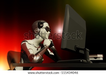 The robot works on the computer