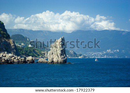"The rock called ""sail"" with a boat near Yalta, Crimea, Ukraine #17922379"