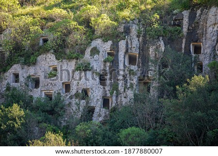 The rock-cut tombs of the Pantalica Necropolis in Sicily. Prehistoric cemetery.  Stock photo ©
