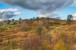 The rock formations at Brimham in Nidderdale are scattered over 50 acres on Brimham Moor