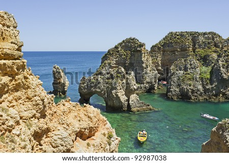 "The rock formations ""Ponta da Piedade"" at the coast of South Portugal"