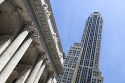 The Rockefeller Center in New York with the Public Library in the foreground