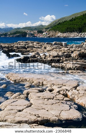 The Rocks section on the southern tip of Lokrum Island. Dubrovnik is visible in the background.