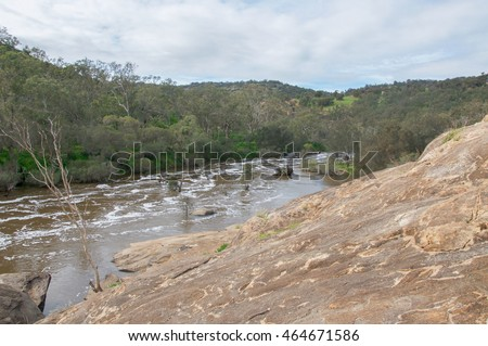 The rocky Bell Rapids where the Avon and Swan River meet in Brigadoon in the Swan Valley region in Western Australia/Bell Rapids Geology/Brigadoon, Swan Valley Region, Western Australia